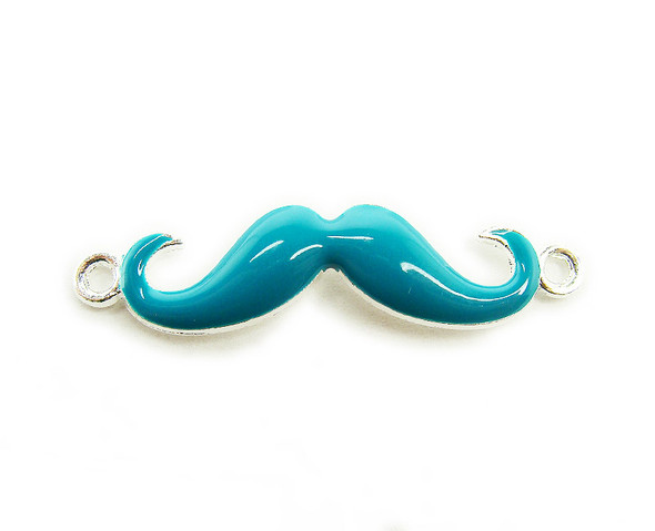8x35mm  pack of 6 Turquoise with silver metal mustache connector
