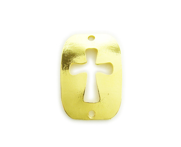 28x40mm  pack of 4 Gold metal cross cut out buckle