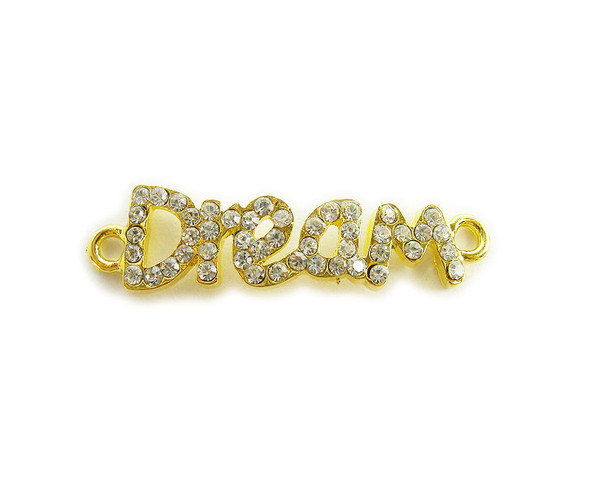 "10x37mm  pack of 4 Gold metal and CZ stone ""dream"" connector"