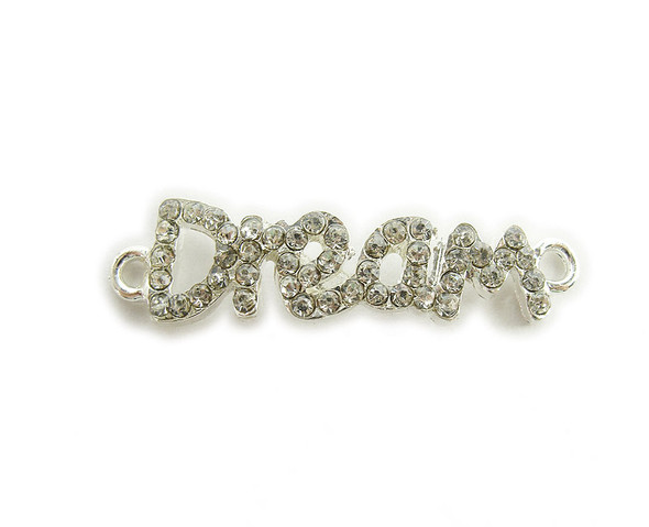 "10x37mm  pack of 4 Silver metal and CZ stone ""dream"" connector"