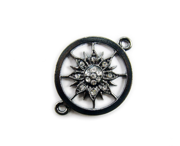 25mm  pack of 4 Black metal and CZ stone compass style round connector