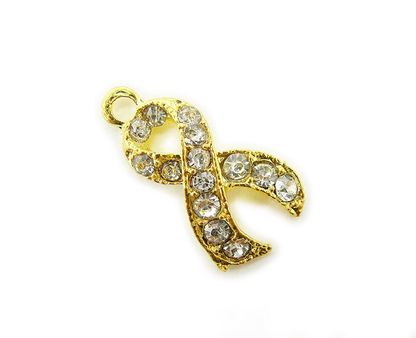10x15mm  pack of 2 Gold metal and CZ stone ribbon charm