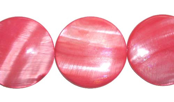35mm Mother Of Pearl Puffed Coin Beads, Red Color