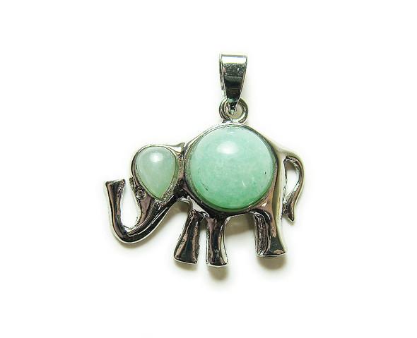 25x32mm Green Aventurine Elephant Gemstone Pendant
