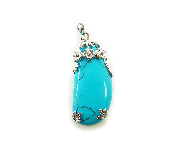 20x50mm Turquoise Howlite Free Form Teardrop Pendant With Fancy Metal Frame