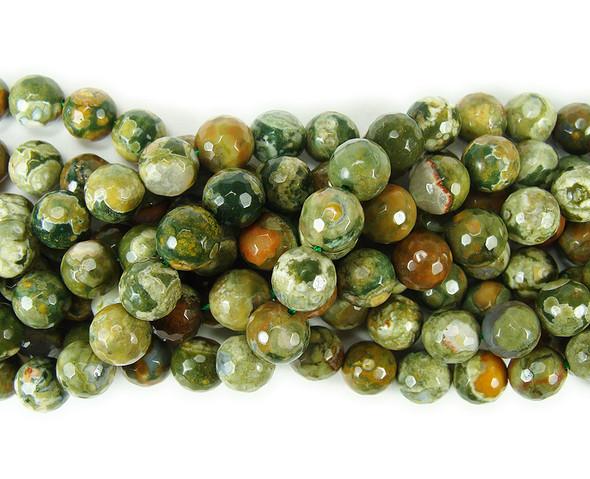 8mm Rhyolite Jasper Faceted Round Beads