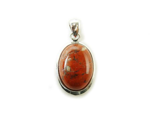 16x25mm Red jasper oval metal pendant
