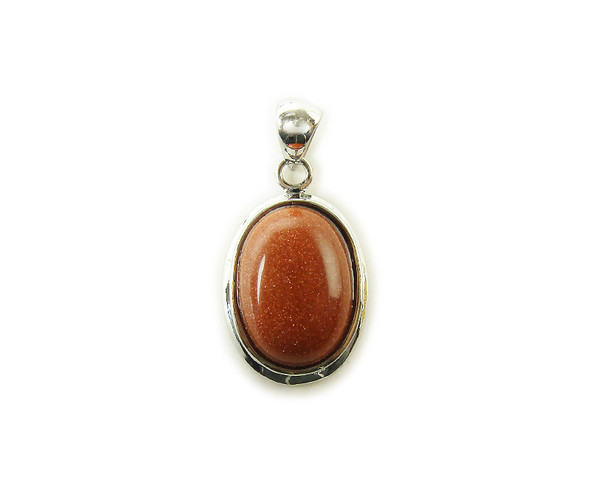 16x25mm Goldstone oval metal pendant