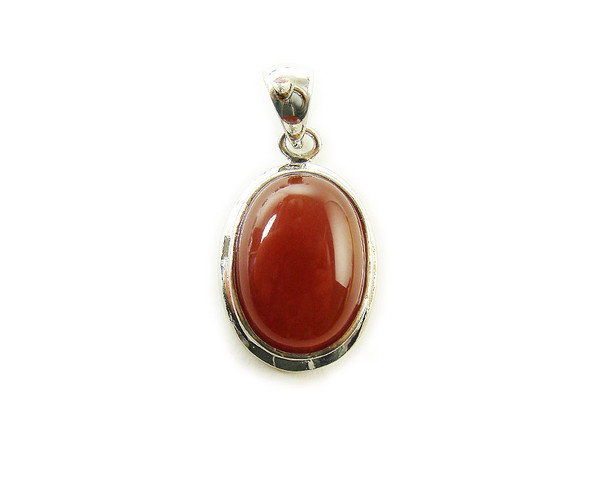 16x25mm Carnelian oval metal pendant