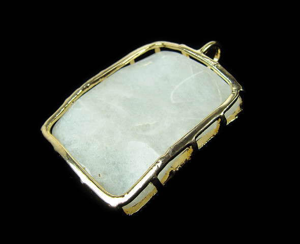 45x58mm White Malaysian jade wavy rectangle metal frame pendant