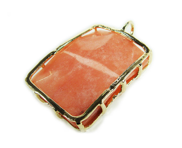 45x58mm Peach Malaysian jade wavy rectangle metal frame pendant