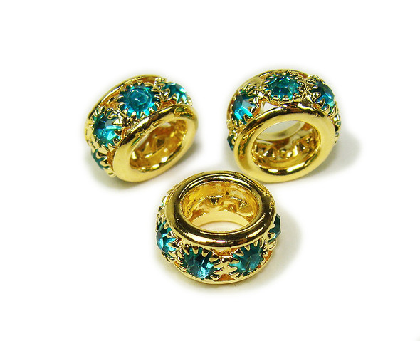 5x10mm Pack Of 5 Sea Blue Stones Gold Rondelle Spacer Beads