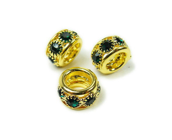 5x10mm Pack Of 5 Dark Green Stones Gold Rondelle Spacer Beads