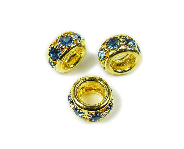 5x10mm Pack Of 5 Blue Stones Gold Rondelle Spacer Beads
