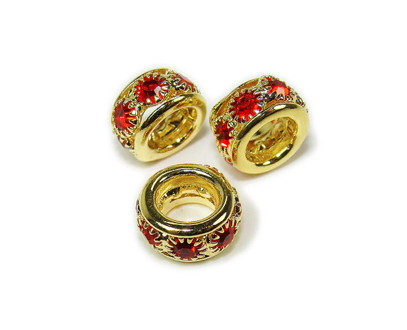 5x10mm Pack Of 5 Red Stones Gold Rondelle Spacer Beads