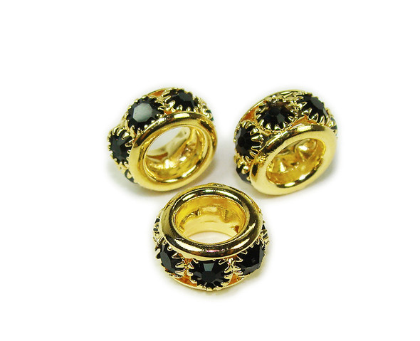 5x10mm Pack Of 5 Dark Purple Stones Gold Rondelle Spacer Beads