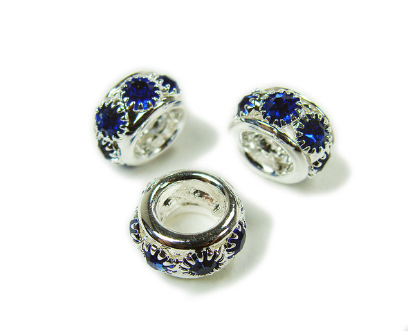 5x10mm Pack Of 5 Dark Blue Stones Silver Rondelle Spacer Beads