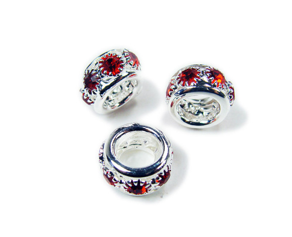 5x10mm Pack Of 5 Red Stones Silver Rondelle Spacer Beads