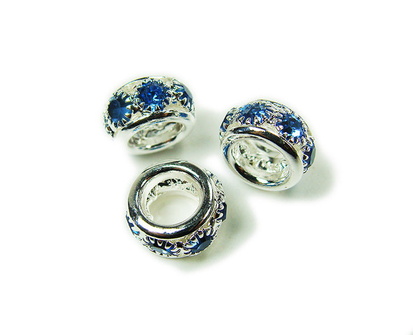 5x10mm Pack Of 5 Blue Stones Silver Rondelle Spacer Beads