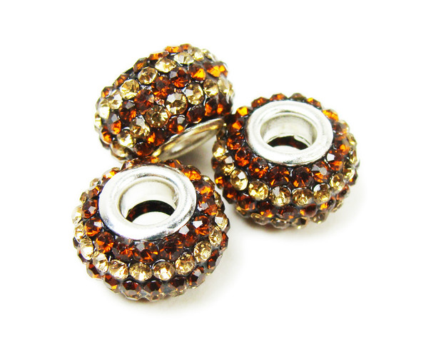 14mm Pack Of 2 Brown Large Hole Rondelle Spacer Beads