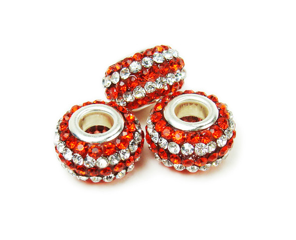 14mm Pack Of 2 White Red Large Hole Rondelle Spacer Beads