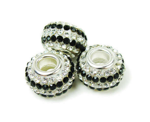 14mm Pack Of 2 White Black Large Hole Rondelle Spacer Beads