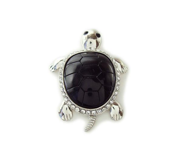 45x60mm Black Agate Turtle Cz Metal Pendant