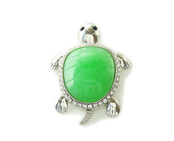 45x60mm Green Agate Turtle Cz Metal Pendant