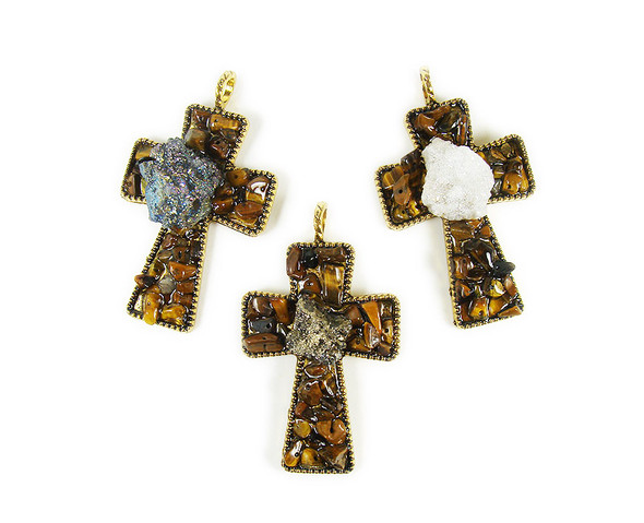 42x65mm Tiger eye stones with mineral gold cross pendant
