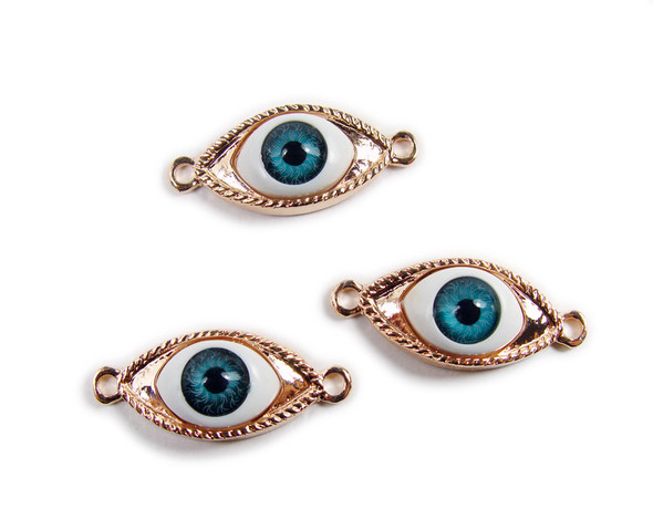 10x30mm  pack of 2 Rose gold third eye metal connector