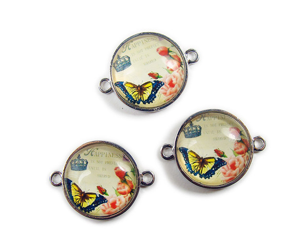 "22mm  pack of 2 Yellow butterfly ""happiness"" resin finished metal coin connector"