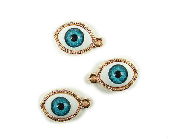 12x20mm  pack of 4 Rose gold third eye charm pendant