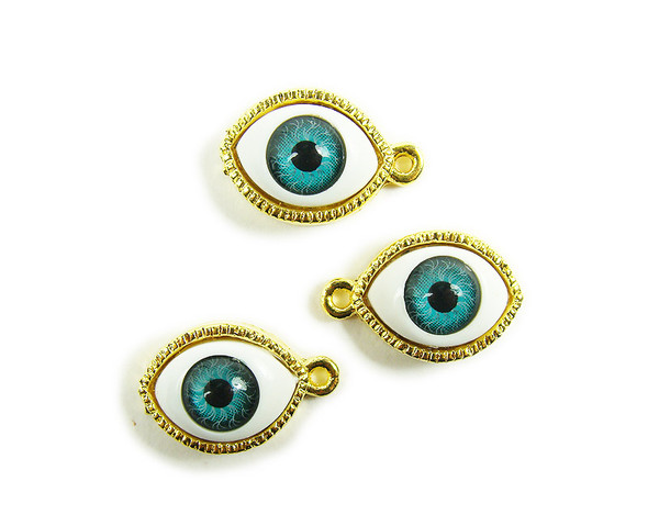12x20mm  pack of 4 Gold third eye metal charm pendant