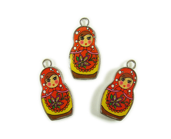 15x26mm  pack of 5 Yellow and red Russian doll double sided metal charms
