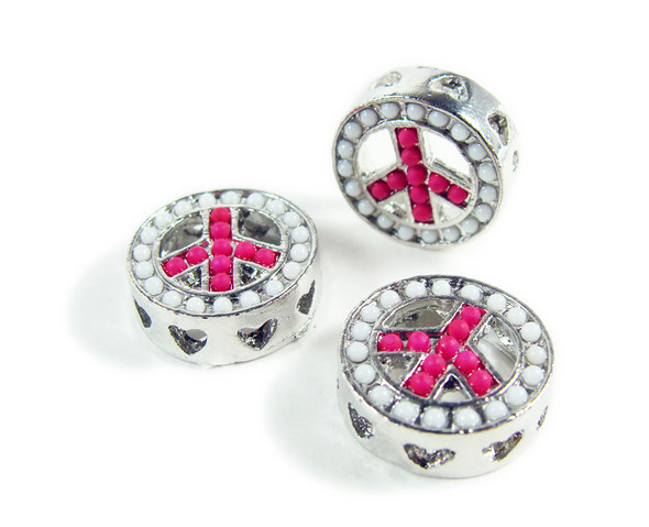 15mm  pack of 2 Pink metal peace round connector beads