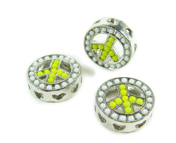 15mm  pack of 2 Lime green metal peace round connector beads