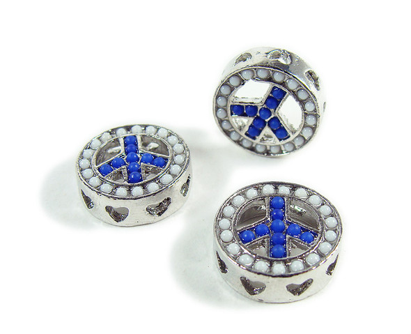 15mm  pack of 2 Blue metal peace round connector beads