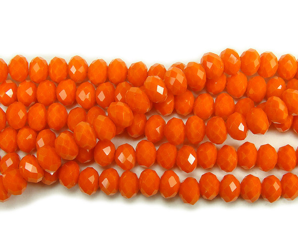 """4x6mm  97 beads  17.5"""" Vermillion red glass faceted rondelle beads"""