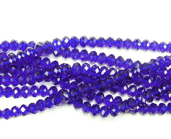"""4x6mm  97 beads  17.5"""" Lapis blue glass faceted rondelle beads"""