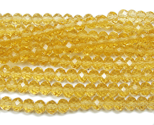 """4x6mm  97 beads  17.5"""" Citrine glass faceted rondelle beads"""