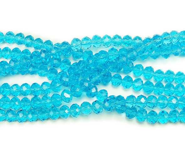 """4x6mm  77 beads  14"""" Sea blue glass faceted rondelle beads"""
