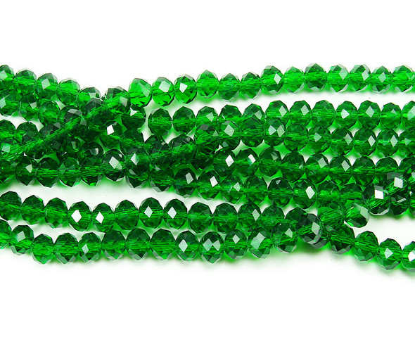 """4x6mm  97 beads  17.5"""" Emerald green glass faceted rondelle beads"""