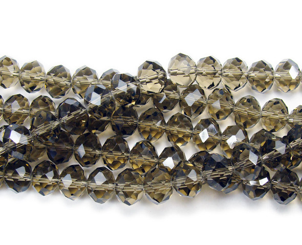 """4x6mm  17"""" Smoky glass faceted rondelle beads"""