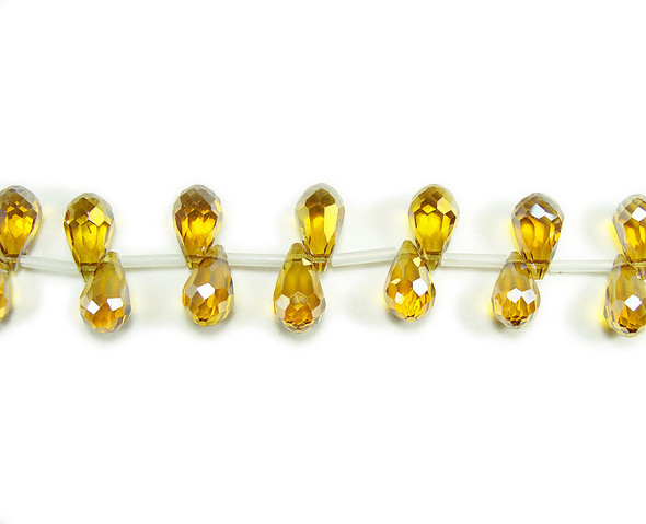 8x13mm 50 Beads Citrine Glass Faceted Briolettes, Gold Ab Finish