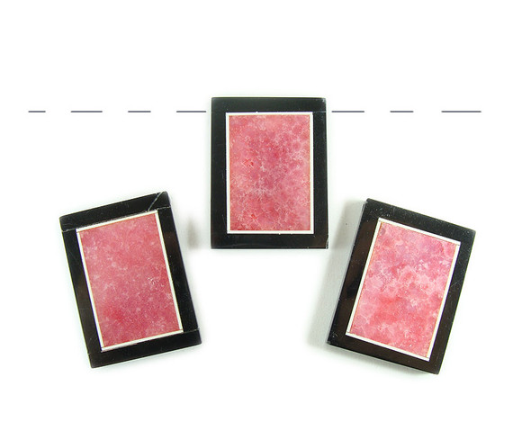 30x40mm Pink quartz agate with black stone frame rectangle pendant