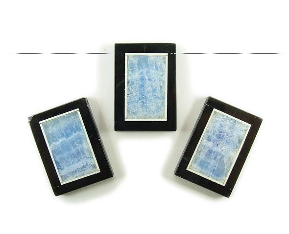 30x40mm Light Blue Quartz Agate With Black Stone Frame Rectangle Pendant