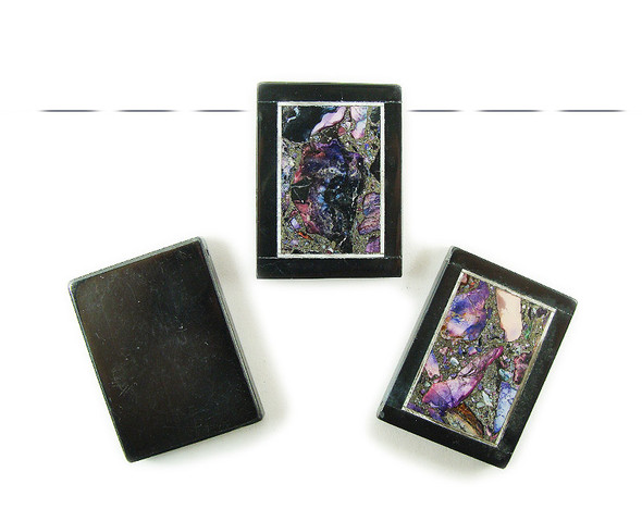 30x40mm Purple foliated jasper with black stone frame rectangle pendant