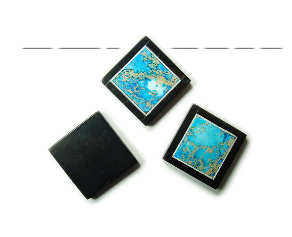 34x34mm Light blue imperial jasper with black stone frame square pendant