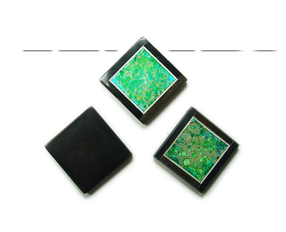 34x34mm Green imperial jasper with black stone frame square pendant