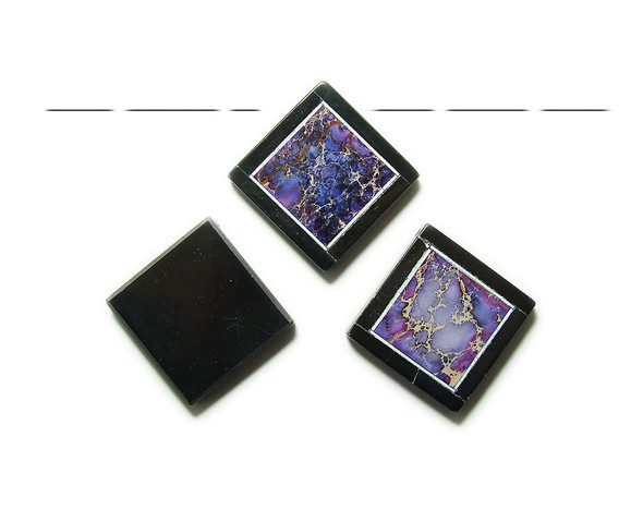 34x34mm Purple imperial jasper with black stone frame square pendant